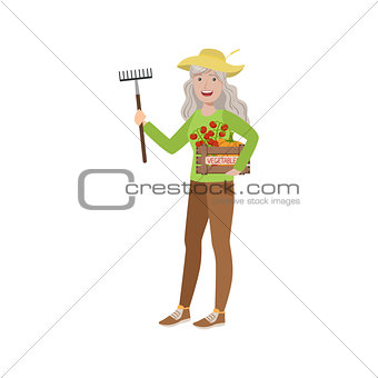 Old Woman With Rake And Crate Of Vegetables