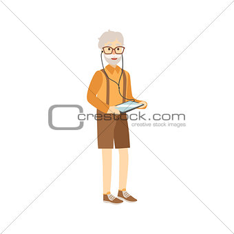 Old Man With Tablet And Headphones