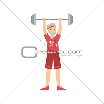 Old Man Weight Lifting In Gym