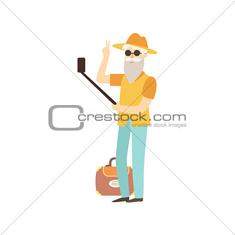 Old Man Doing Selfie With A Stick