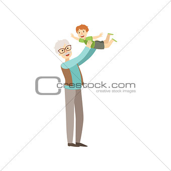 Old Man Playing With His Grandson