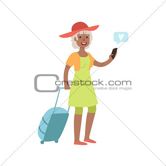 Old Lady Travelling And Texting