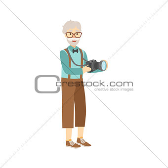 Old Man In Hipster Fashion Clother With Camera