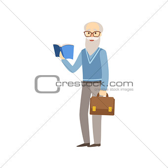 Old Professor With Book And Suitcase