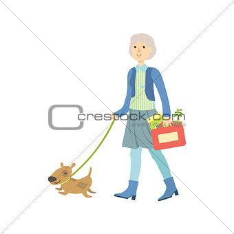 Old Lady Walking A Dog