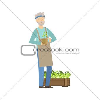 Old Man Showing His Gardening Hobby