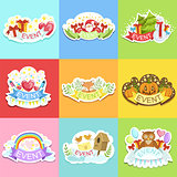 Party Template Labels Set Of Cute Stickers