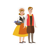 Couple In French National Clothes