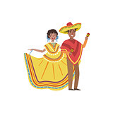 Couple In Mexican National Clothes