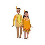 Couple In Nothern America Indians National Clothes
