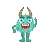 Furry Turquoise Friendly Monster With Horns