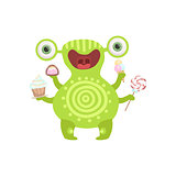 Green Tattooed Friendly Monster With Sweets