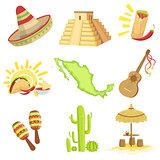 Mexican Culture Symbols Set
