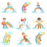 Kids Playing Music Instruments With Rainbow And Clouds Decoration