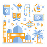 Muslim Religious Holiday Symbols Set