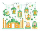 Islamic Religious Holiday Symbols Set