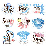 Seafood Menu Promo Signs Colorful Set