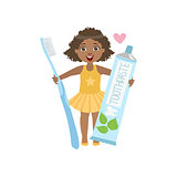 Girl Holding Giant Toothpaste Tube And Toothbrush