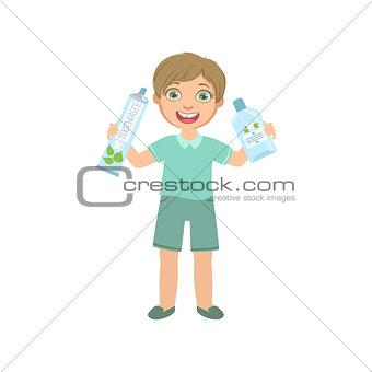 Boy Holding Big Toothpaste Tube And Mouthwash Bottle