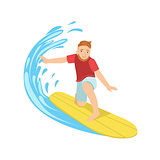 Guy Catching The Wave On Yellow Surfboard