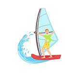 Guy Windsurfing At The Sea
