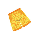 Pair Of Yellow Swimshorts With Floral Motive