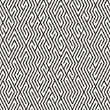 Vector Seamless Black and White Maze Lines Grid Pattern