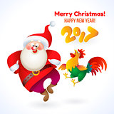 Happy New Year 2017 banner with Santa Claus and rooster
