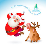 Happy New Year 2017 banner with Santa Claus and deer