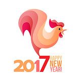 Vector illustration of pink rooster