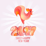 Sign New Year 2017 rooster in shape of candy on stick.