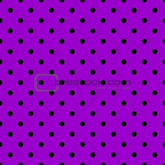 Tile vector pattern with black polka dots on violet background