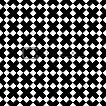 Tile black and white x cross vector pattern
