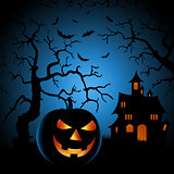 Halloween night poster with haunted castle and grinning pumpkin