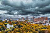 City skyline at autumn cloudy day time.