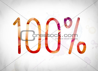 100 Percent Concept Watercolor Word Art