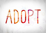 Adopt Concept Watercolor Word Art