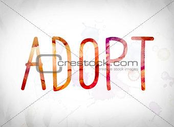 Adopt Concept Watercolor Word Art