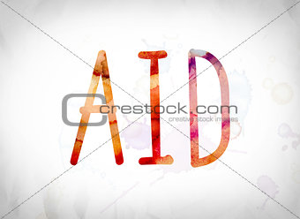 Aid Concept Watercolor Word Art