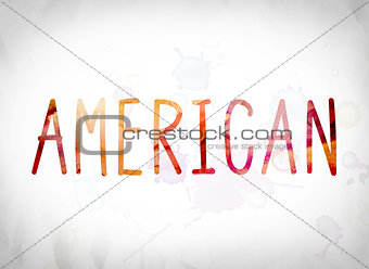 American Concept Watercolor Word Art
