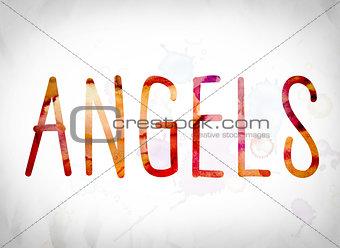 Angels Concept Watercolor Word Art
