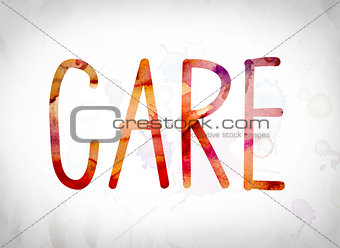 Care Concept Watercolor Word Art