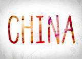 China Concept Watercolor Word Art