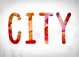 City Concept Watercolor Word Art