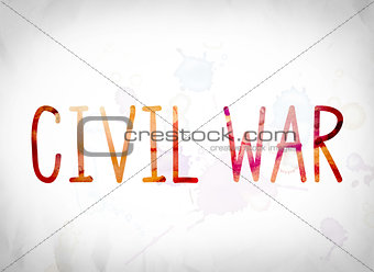 Civil War Concept Watercolor Word Art
