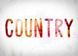 Country Concept Watercolor Word Art