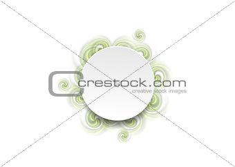 Abstract green spiral shapes and blank circle