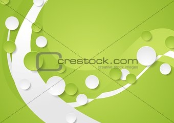 Bright green wavy tech abstract background