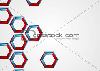 Abstract blue red hexagons corporate background