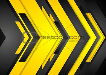 Abstract vector orange black tech arrows background